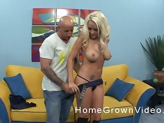 Busty tattooed blonde MILF in boots gets their way covetous pussy pounded