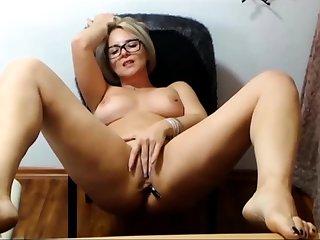 Mature blonde solo masturbation