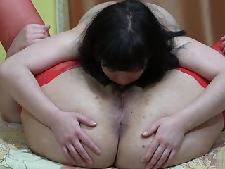 lesbians lick hairy pussies, licking asses to each other and strapon