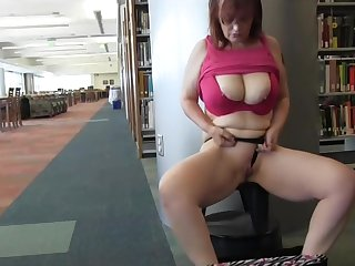 Mature in library pees and shows all!!