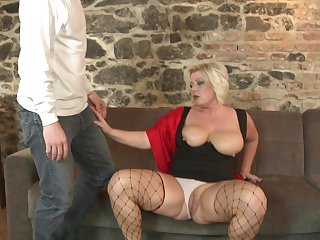 Fishnet lover Alex bounces on his dick like there's no tomorrow
