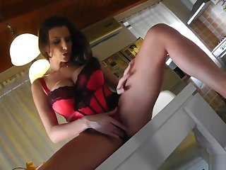 Sensual Jane squirting in my friends kitchen