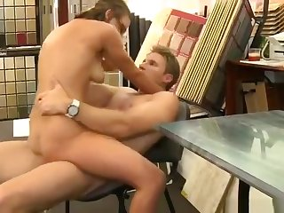 Awesome shaved experienced woman Willow is sucking dick in office