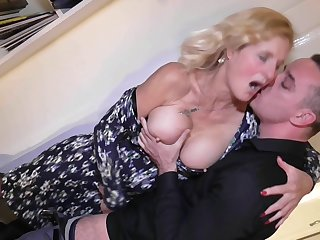 Chubby mature amateur blonde granny Molly Maracas pussy fucked hard