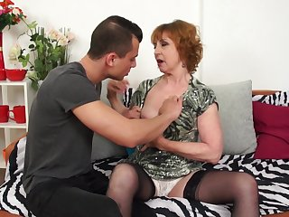 Short haired redhead mature granny Danny fucked hard doggy style