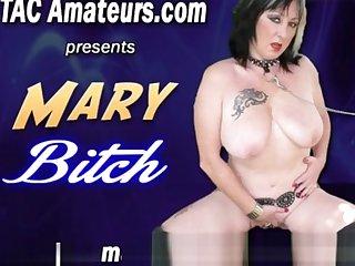 Depraved slut Mary Bitch takes massive dildo
