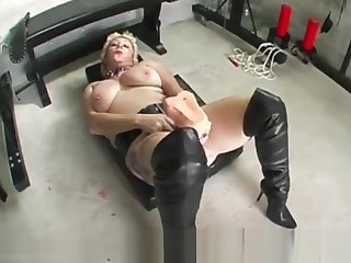 Depraved slut Mary Bitch takes massive dildo