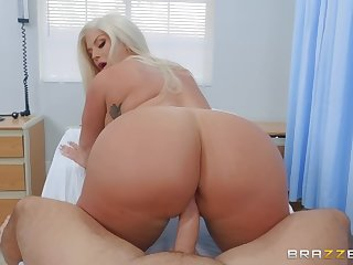 big buxom MILF Julie Cash rides hard long dick of Keiran Lee
