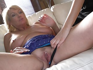 Lesbian sex with hot girl Sarah Cute is the best experience for this granny