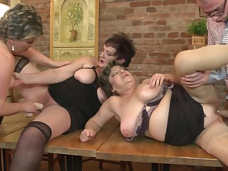 Experienced Carmela and her granny friends share one big dick