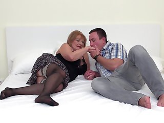 Hairy pussy of mature chubby blonde Katalina pounded hardcore