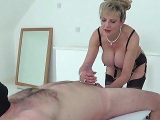 Handjob queen Lady Sonia jerks his cock