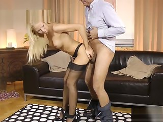 UK milf teaches young babe how to get fucked