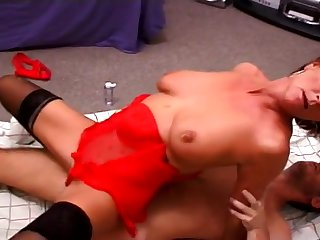 Mature Woman In Red Lingerie Knows What To Do With Cock
