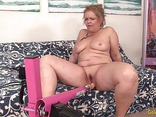 Machine Makes Grandma Kelly Leigh Orgasm