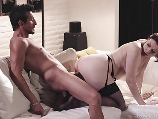 Bitch in black stockings, insane cock riding and blowjob