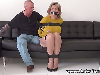 Adult chick, Dame Sonia was bound up, while her colleague was engaging her meaty milk cans