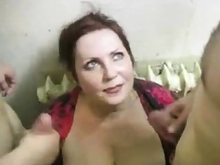 russian slut fucks 2 cocks on the stairs (part4)