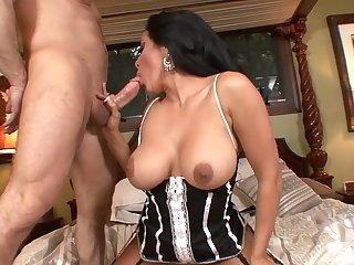 tanned MILF in fishnet stockings sucks and fucks hard cock for cumshot