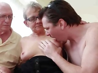 REAL Granny Fucks Young Babe Dude with Husband Watching - cuckold cheating