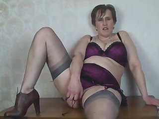 Busty Mature Secretary Toys in Nylon Stockings