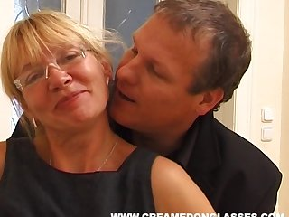 Mature slut Sandra AA with saggy tits fucked by her younger neighbor