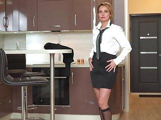 Returned from work slutty lady Oliya gets nude to masturbate her wet pussy