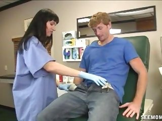 Patient needs to have his balls emptied and a nurse helps him cum