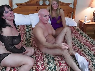 Bald guy fucks his fat wife and an amateur blonde prostitute