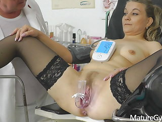 Leaked CCTV recording of naked granny's old pussy exam