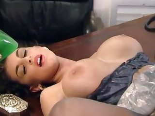 Sexy mature secretary Sarah Young serves lucky boss