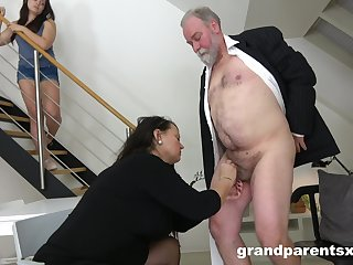 Kinky threesome sex with an old couple and a sexy younger model