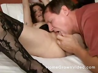 Professional escort in stockings fucked by a horny older man