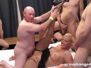 Kinky group sex with lot of dudes and one slutty blonde wife