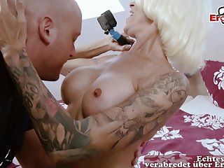 Skinny Blond Hair Babe German Mature Seduces Craftman