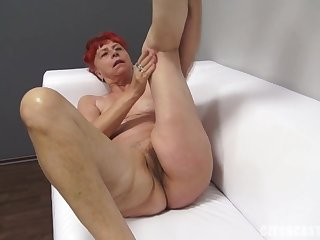 Mature Redhead Takes Male Stick At The Casting