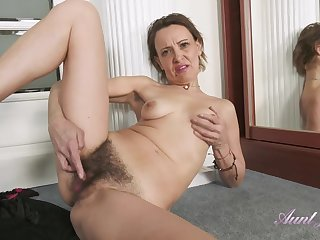 GILF Gerda Sweaty Workout Leads To Hairy Cunt Rubbing