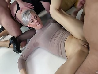 Wild sex orgy with lot of cock hungry mature amateur sluts