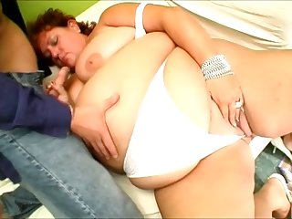 Curly amateur SSBBW looks serious as dude fucks her wet pussy mish