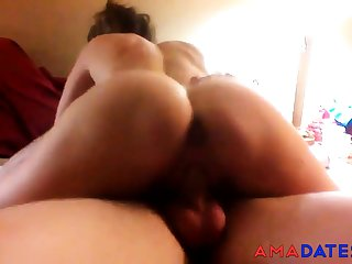 Cuck's girl rides old cock as he videos.