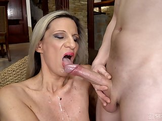 Dirty blonde mature Conchita licked and fucked by her younger lover