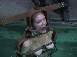 Water punishment for a nasty whore with a nice body and yummy tits
