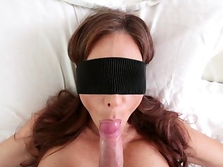 Blindfolded milf sucks her stepsons cock and is facefucked