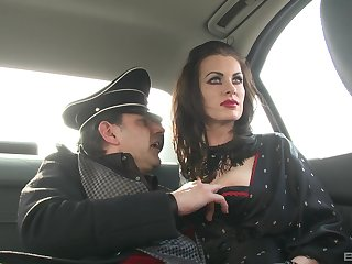 German MILF brunette babes in costumes fuck one big hard cock