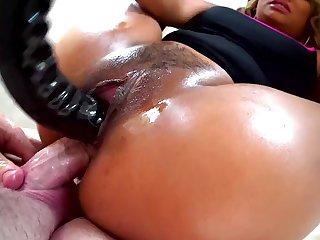 Lana Croft double butt fucked in insane POV