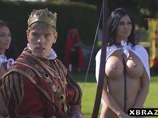Big gun romps his buxom self-denial servants Jasmine and Anissa