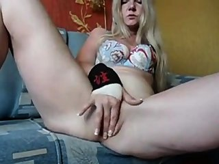 X Russian MILF tease on webcam