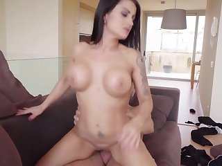 Buxom MILF with huge ass together with big boobs rides hulking horn