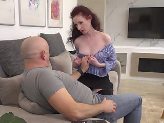 Mature redhead in stockings Estella Bathory rides cock at a hotel room