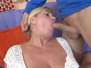 Sweet busty mom fucks her young boy